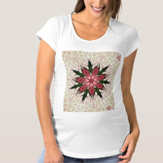 Romantic Vintage Lace Pink Rose Kaleidoscope Maternity T-Shirt