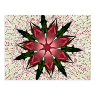 Romantic Vintage Lace Pink Rose Kaleidoscope Postcard