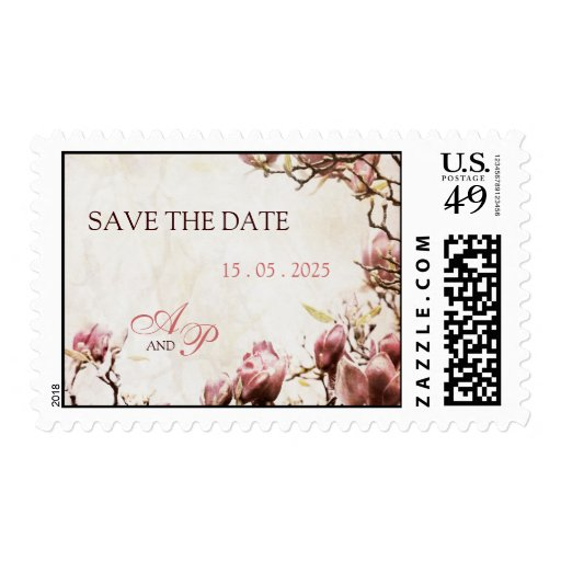 Romantic Vintage Magnolia Save the Date Postage Stamps