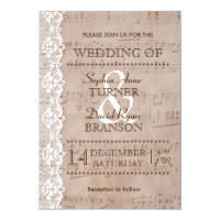Romantic Vintage Music Sheet & Lace Wedding Invite