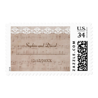 Romantic Vintage Music Sheet & Lace Wedding Postage
