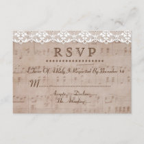 Romantic Vintage Music Sheet & Lace Wedding RSVP