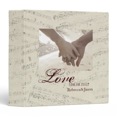 romantic Vintage musicnotes modern wedding Vinyl Binder