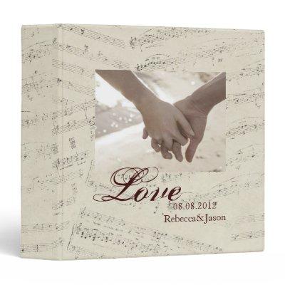 romantic Vintage musicnotes modern wedding Vinyl Binder