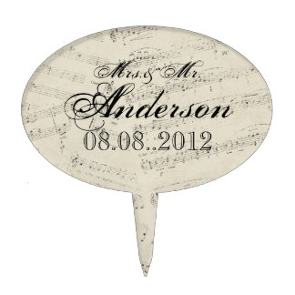 romantic Vintage musicnotes modern wedding Oval Cake Toppers