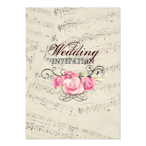 Romantic Vintage Musicnotes Modern Wedding Custom Invitation