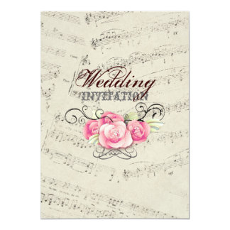 romantic Vintage musicnotes modern wedding 5x7 Paper Invitation Card