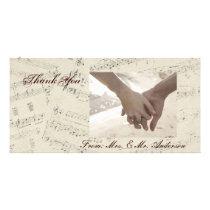 romantic Vintage musicnotes modern wedding Custom Photo Card