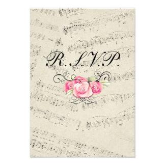 romantic Vintage musicnotes modern wedding RSVP Custom Invitations