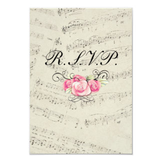 romantic Vintage musicnotes modern wedding RSVP 3.5x5 Paper Invitation Card