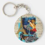 Romantic vintage Paris collage Basic Round Button Keychain