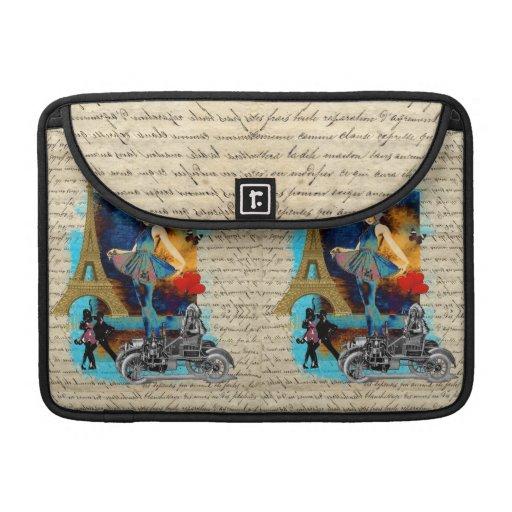 Romantic vintage Paris collage Sleeves For MacBook Pro
