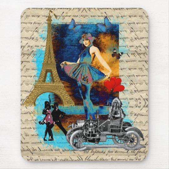 Romantic vintage Paris collage Mouse Pad
