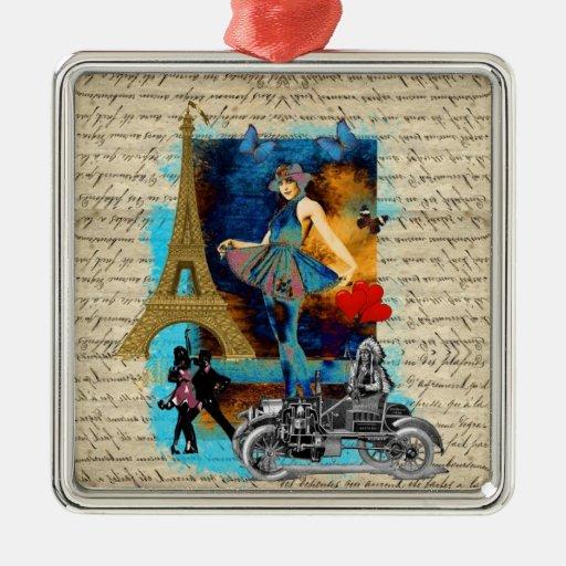 Romantic vintage Paris collage Square Metal Christmas Ornament