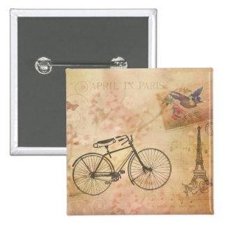 Romantic Vintage Paris in Spring Collage Pinback Button