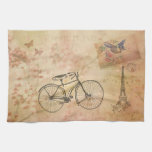 Romantic Vintage Paris in Spring Collage Hand Towel