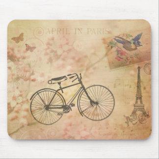 Romantic Vintage Paris in Spring Collage Mouse Pad