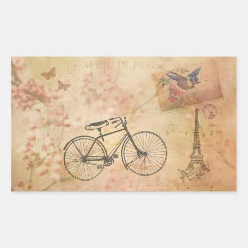 Romantic Vintage Paris in Spring Collage Stickers