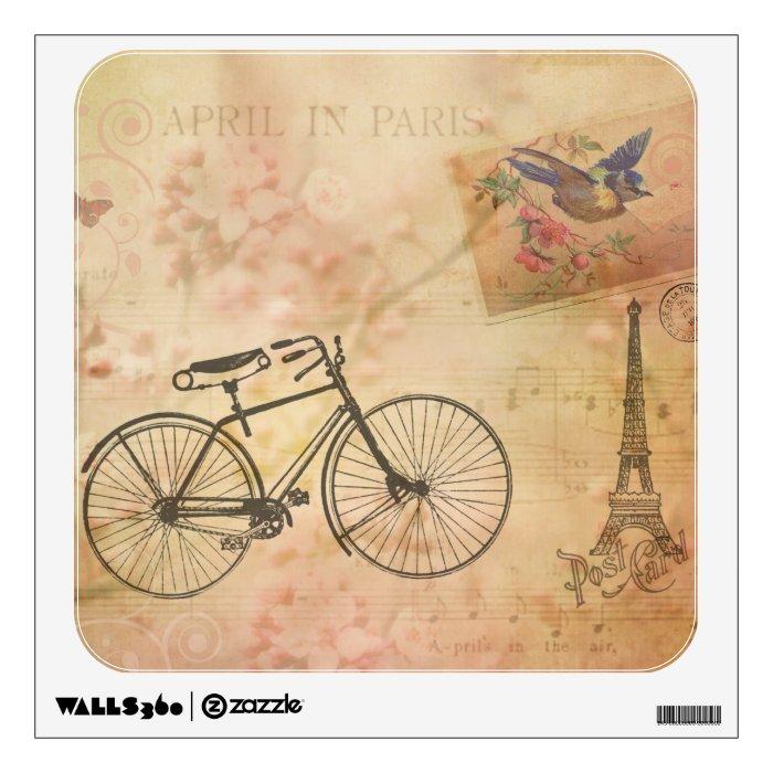 Romantic Vintage Paris in Spring Collage Wall Sticker