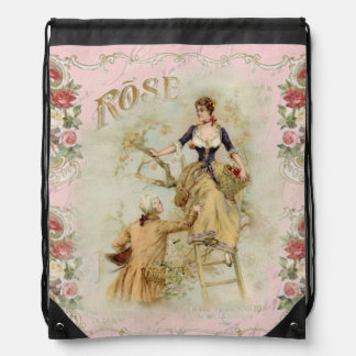 Romantic vintage Paris lovers pink rose accessory Drawstring Backpack
