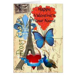 Romantic  vintage Paris Valentine's Card
