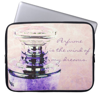 Romantic vintage perfume bottle with quote laptop computer sleeves