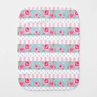 Romantic Vintage Pink & Mint Floral Roses Pattern Burp Cloth