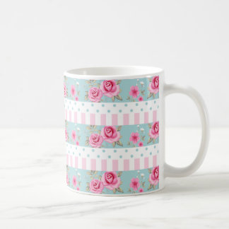 Romantic Vintage Pink & Mint Floral Roses Pattern Coffee Mug