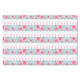 "Romantic Vintage Pink & Mint Floral Roses Pattern 10"" X 15"" Tissue Paper"