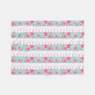 Romantic Vintage Pink & Mint Floral Roses Pattern Fleece Blanket