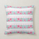 Romantic Vintage Pink & Mint Floral Roses Pattern Throw Pillows