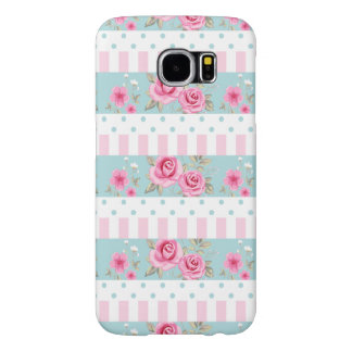 Romantic Vintage Pink & Mint Floral Roses Pattern Samsung Galaxy S6 Case