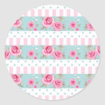 Romantic Vintage Pink & Mint Floral Roses Pattern Round Stickers