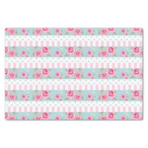 Romantic Vintage Pink & Mint Floral Roses Pattern Tissue Paper
