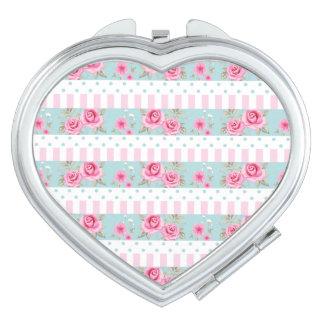 Romantic Vintage Pink & Mint Floral Roses Pattern Vanity Mirror