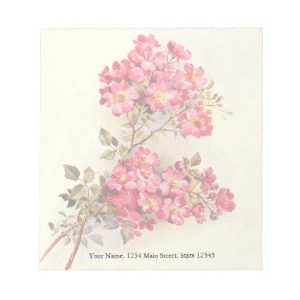 Romantic Vintage Pink Roses Memo Note Pad