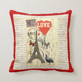Romantic vintage postcard valentines throw pillow