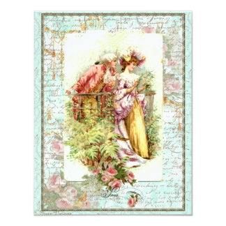 Romantic Vintage Regency Couple with Roses Card