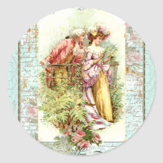 Romantic Vintage Regency Couple with Roses Classic Round Sticker