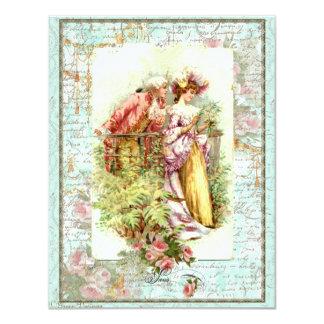 Romantic Vintage Regency Couple with Roses Custom Invites