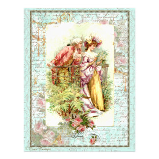 Romantic Vintage Regency Couple with Roses Letterhead