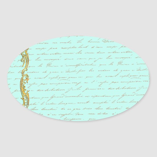 Romantic Vintage Regency Couple with Roses Oval Sticker