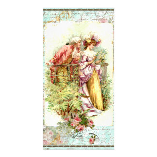 Romantic Vintage Regency Couple with Roses Photo Card