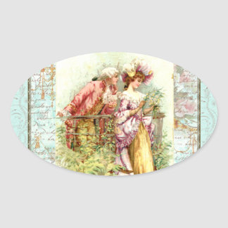 Romantic Vintage Regency Couple with Roses Sticker