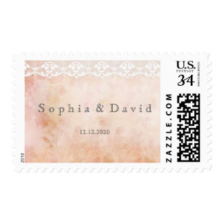 Romantic Vintage Rose and Lace Wedding Postage