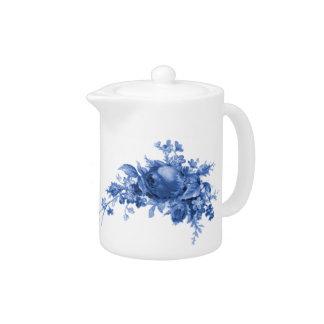 Romantic Vintage Rose In Blue Teapot