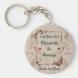 Romantic Vintage Save the Date Keychain