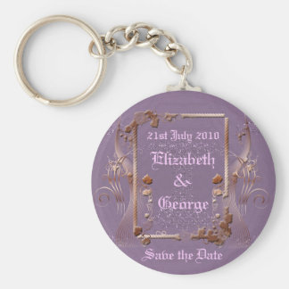 Romantic Vintage Save the Date Basic Round Button Keychain