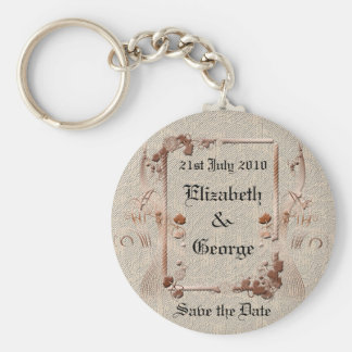 Romantic Vintage Save the Date Keychains