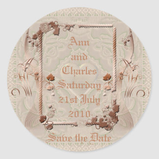 Romantic Vintage Save the Date Classic Round Sticker